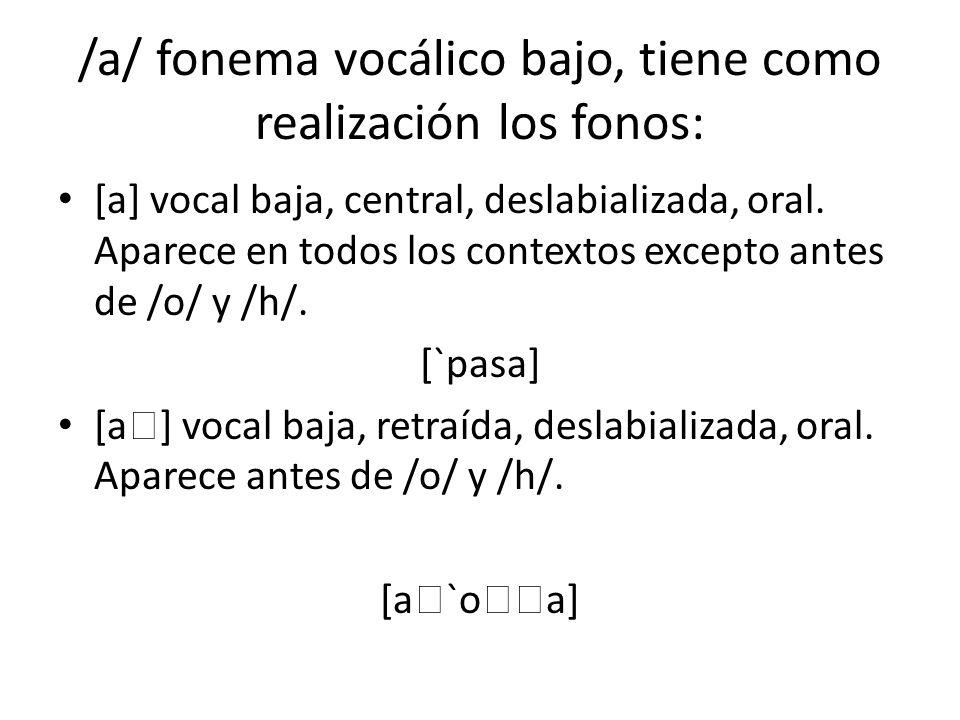 /a/ fonema vocálico bajo, tiene como realización los fonos: