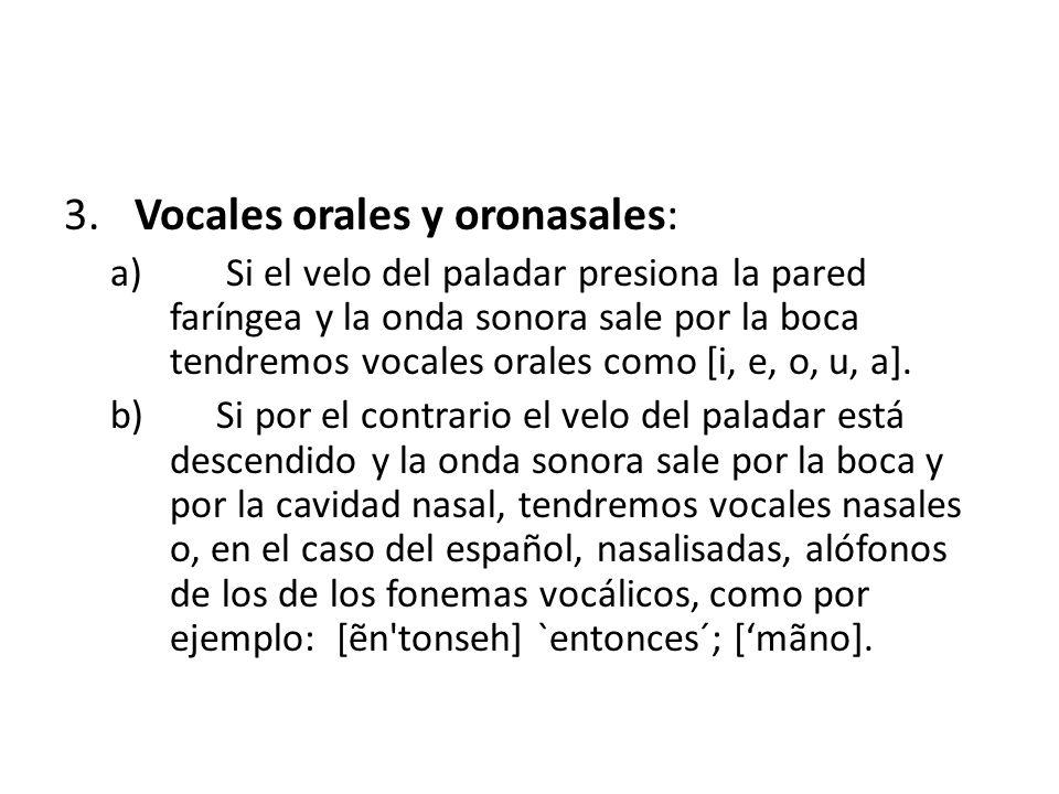 Vocales orales y oronasales: