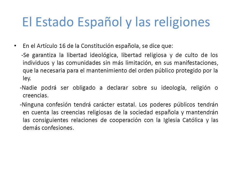 El Estado Español y las religiones
