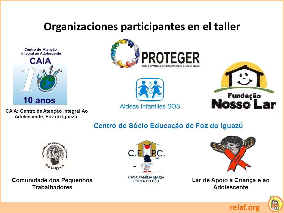 Organizaciones participantes en el taller