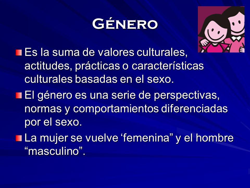 GéneroEs la suma de valores culturales, actitudes, prácticas o características culturales basadas en el sexo.