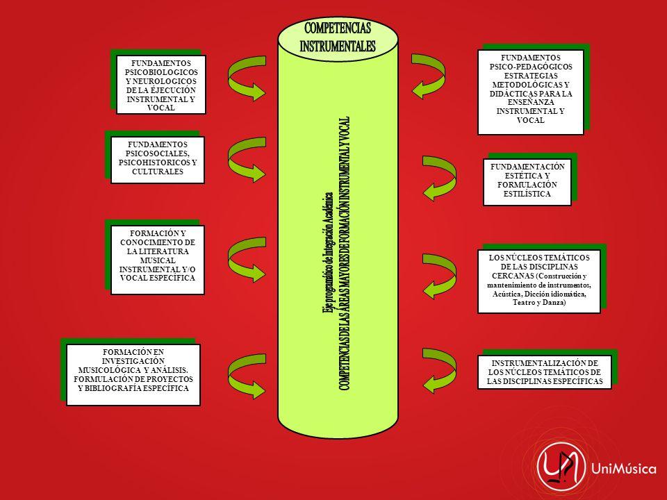COMPETENCIAS DE LAS ÁREAS MAYORES DE FORMACIÓN INSTRUMENTAL Y VOCAL