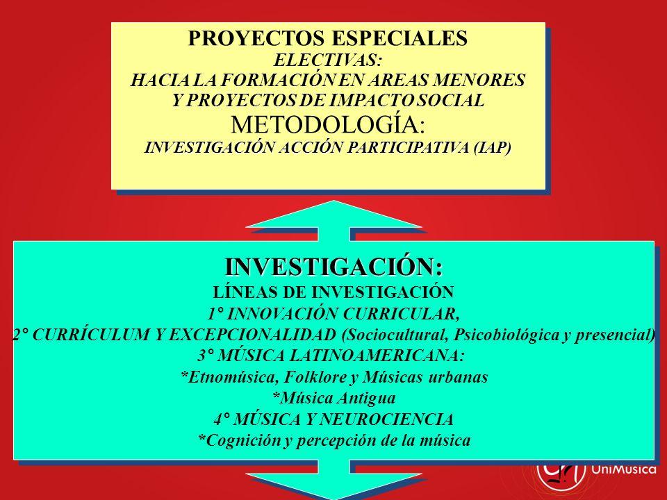 METODOLOGÍA: INVESTIGACIÓN: PROYECTOS ESPECIALES ELECTIVAS: