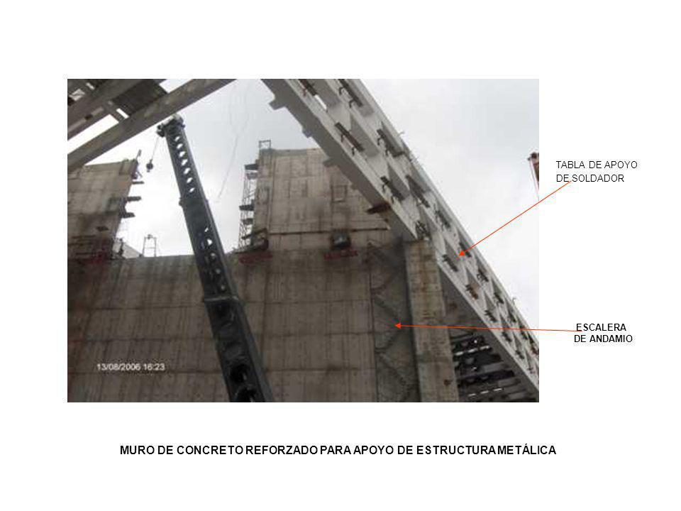 MURO DE CONCRETO REFORZADO PARA APOYO DE ESTRUCTURA METÁLICA