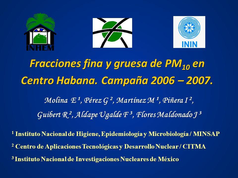 Fracciones fina y gruesa de PM10 en Centro Habana. Campaña 2006 – 2007.