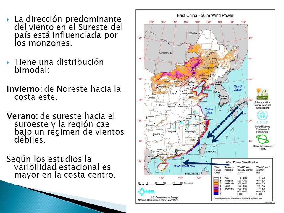 La dirección predominante del viento en el Sureste del país está influenciada por los monzones.