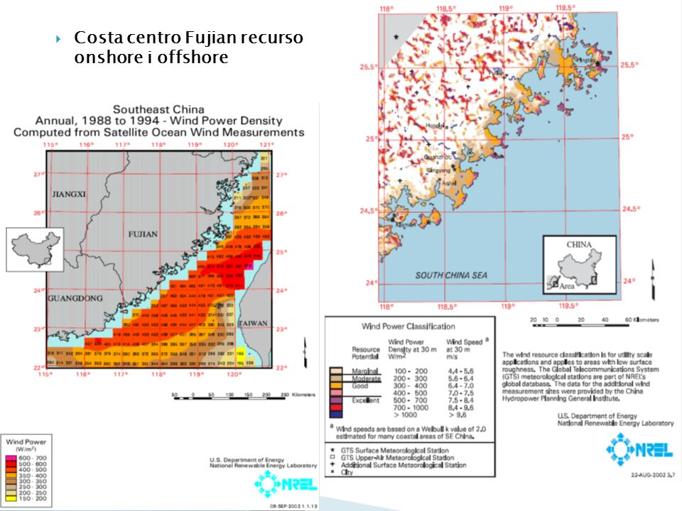 Costa centro Fujian recurso onshore i offshore