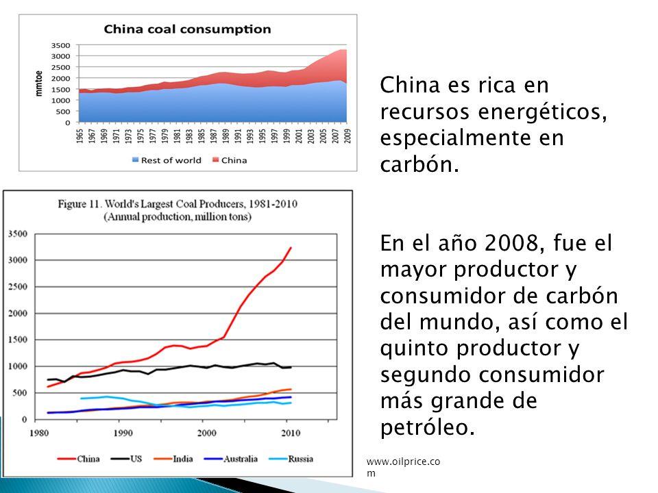 China es rica en recursos energéticos, especialmente en carbón.
