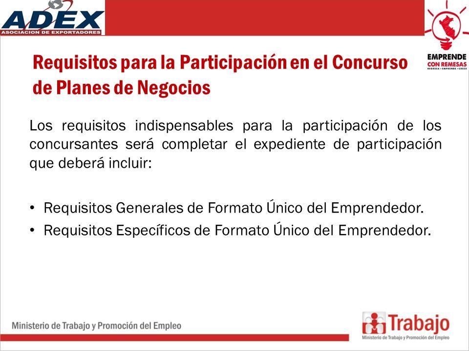 Requisitos para la Participación en el Concurso de Planes de Negocios