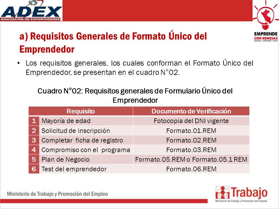 a) Requisitos Generales de Formato Único del Emprendedor