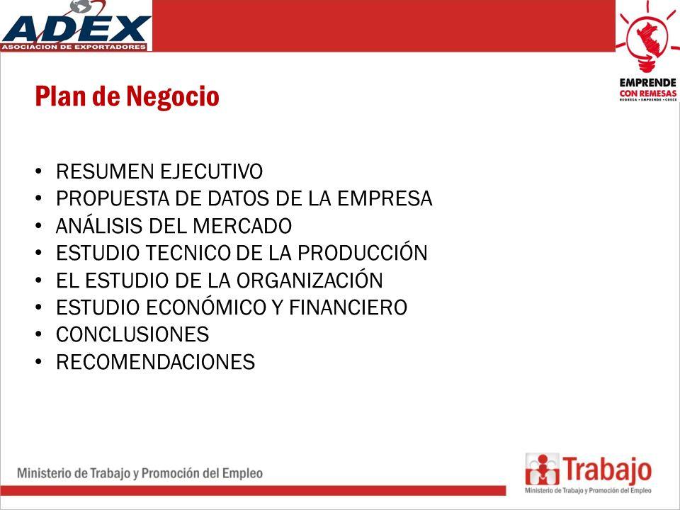 Plan de Negocio RESUMEN EJECUTIVO PROPUESTA DE DATOS DE LA EMPRESA