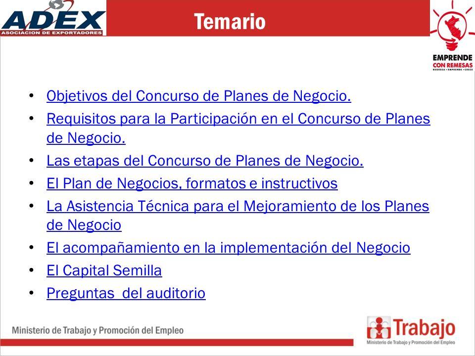 Temario Objetivos del Concurso de Planes de Negocio.
