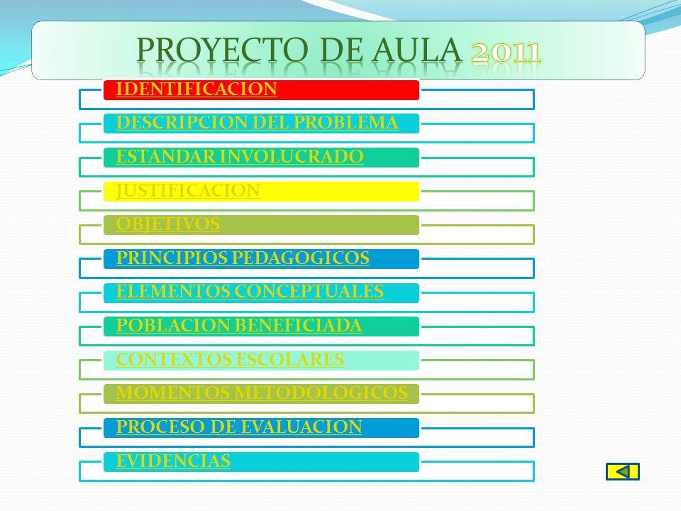 PROYECTO DE AULA 2011 IDENTIFICACION DESCRIPCION DEL PROBLEMA