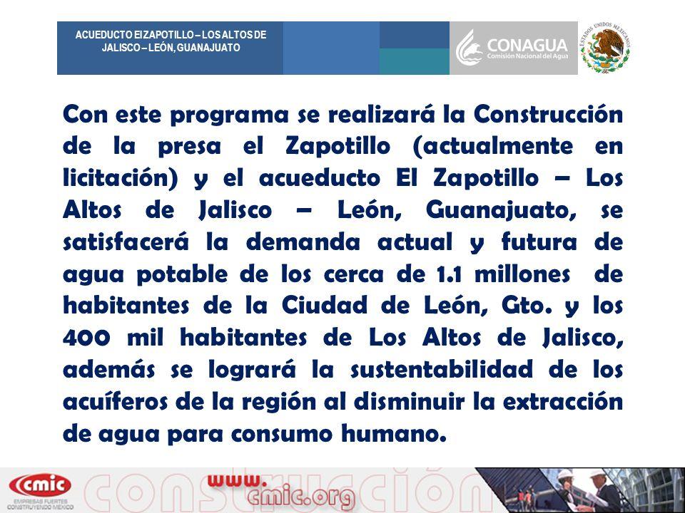 ACUEDUCTO El ZAPOTILLO – LOS ALTOS DE JALISCO – LEÓN, GUANAJUATO