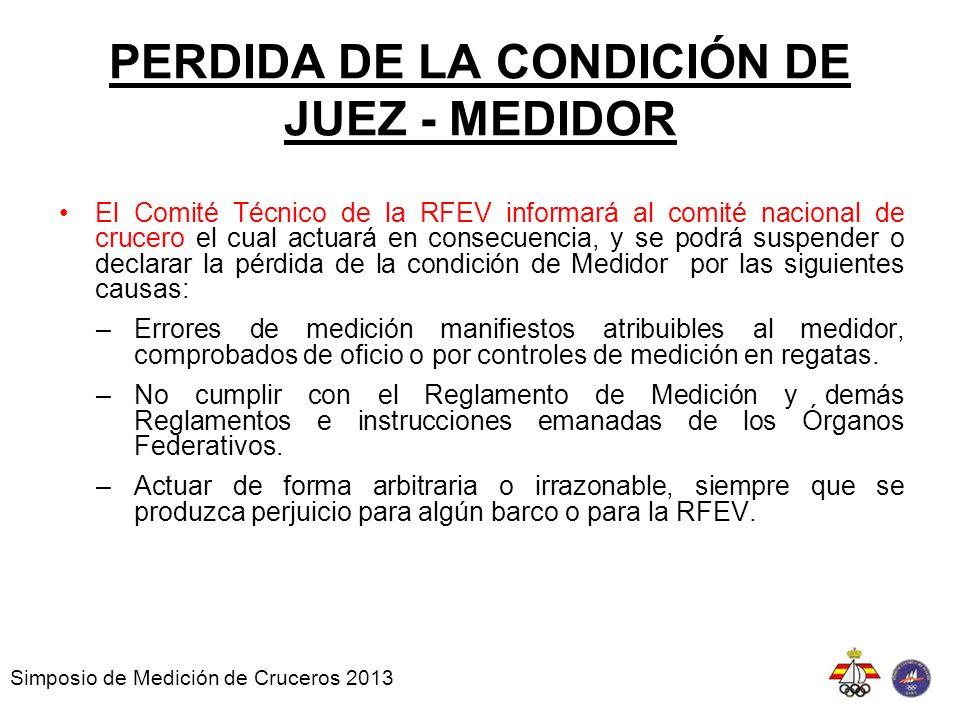 PERDIDA DE LA CONDICIÓN DE JUEZ - MEDIDOR