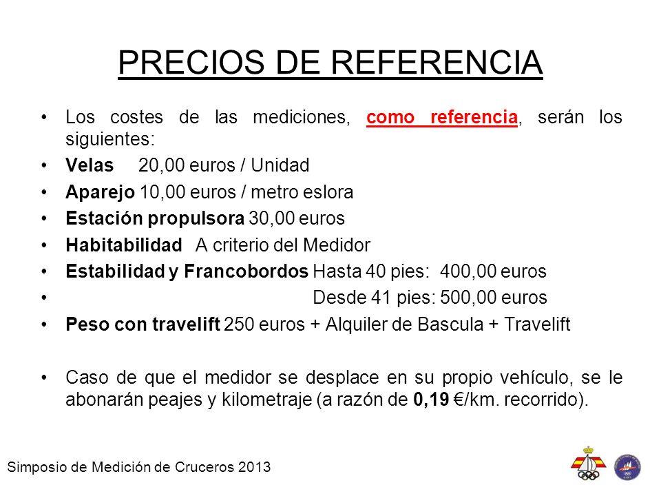 PRECIOS DE REFERENCIA Los costes de las mediciones, como referencia, serán los siguientes: Velas 20,00 euros / Unidad.
