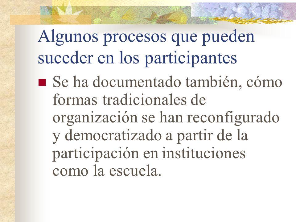 Algunos procesos que pueden suceder en los participantes