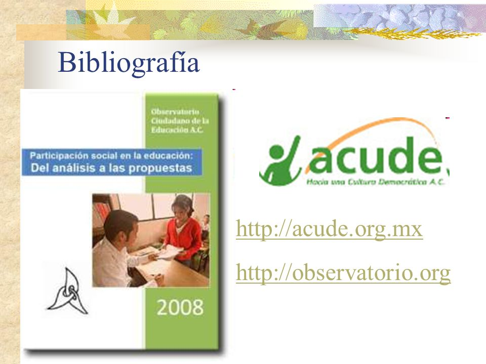 Bibliografía http://acude.org.mx http://observatorio.org
