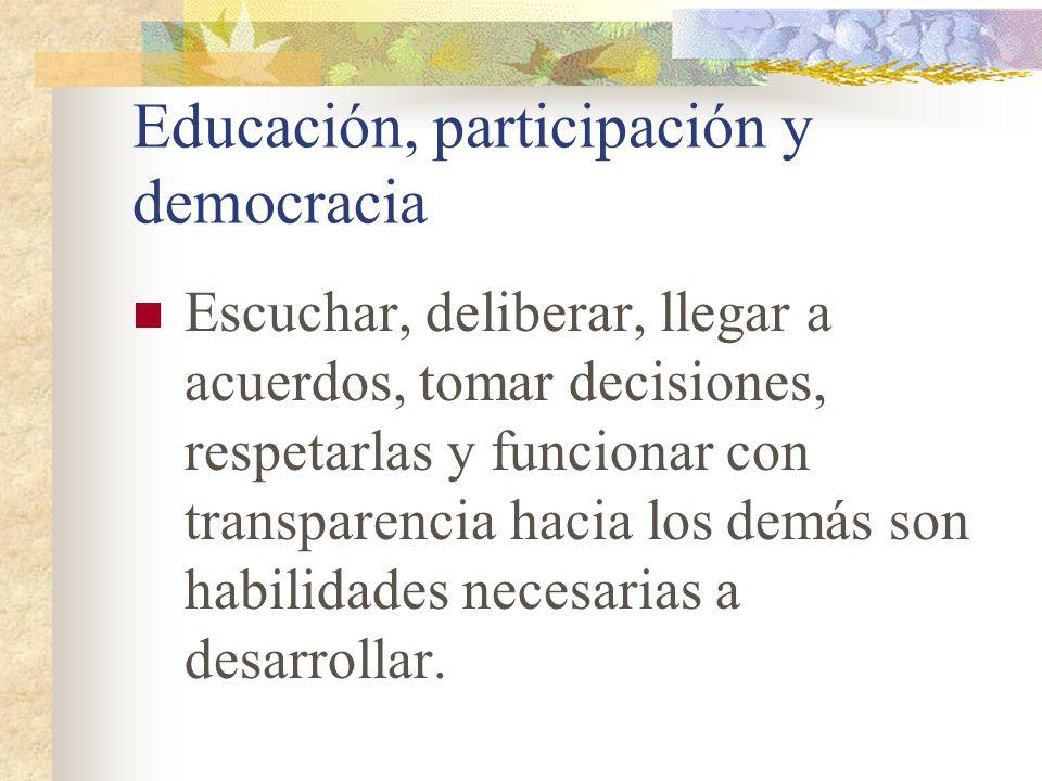 Educación, participación y democracia