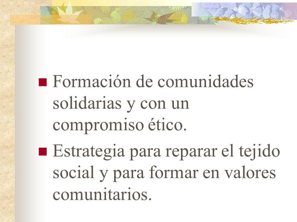 Formación de comunidades solidarias y con un compromiso ético.