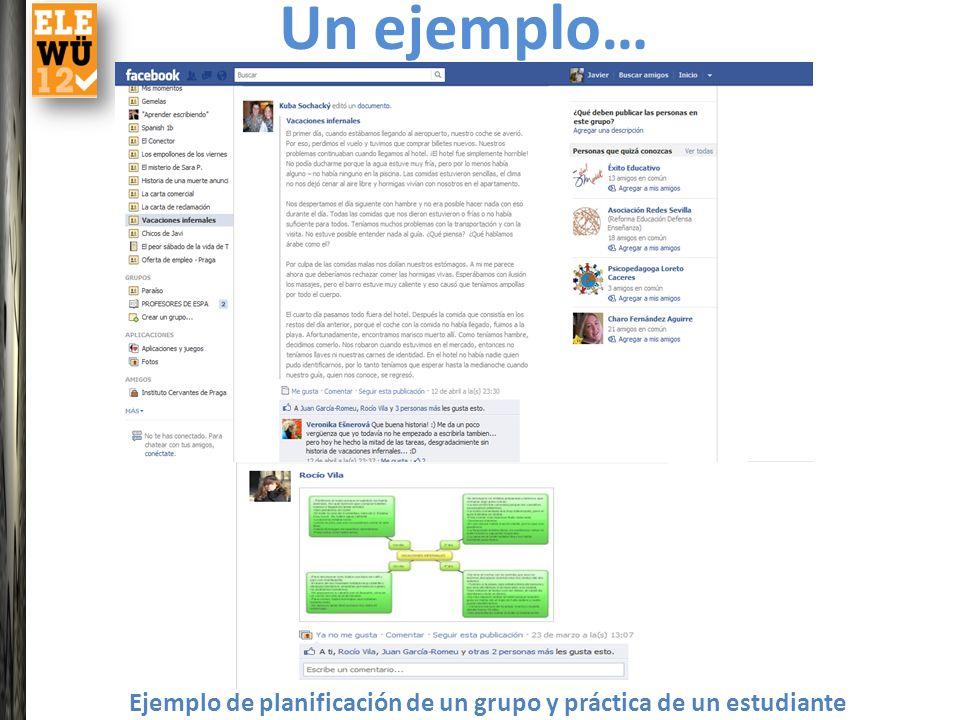 Ejemplo de planificación de un grupo y práctica de un estudiante