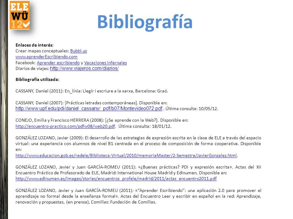 Bibliografía Enlaces de interés: Crear mapas conceptuales: Bubbl.us
