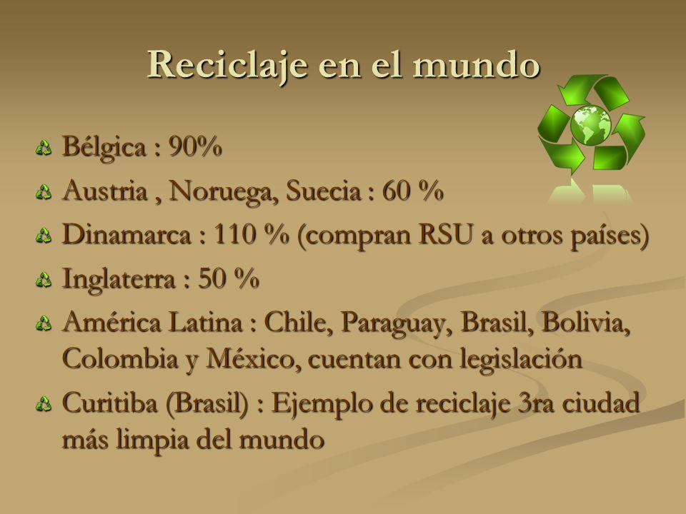 Reciclaje en el mundo Bélgica : 90% Austria , Noruega, Suecia : 60 %