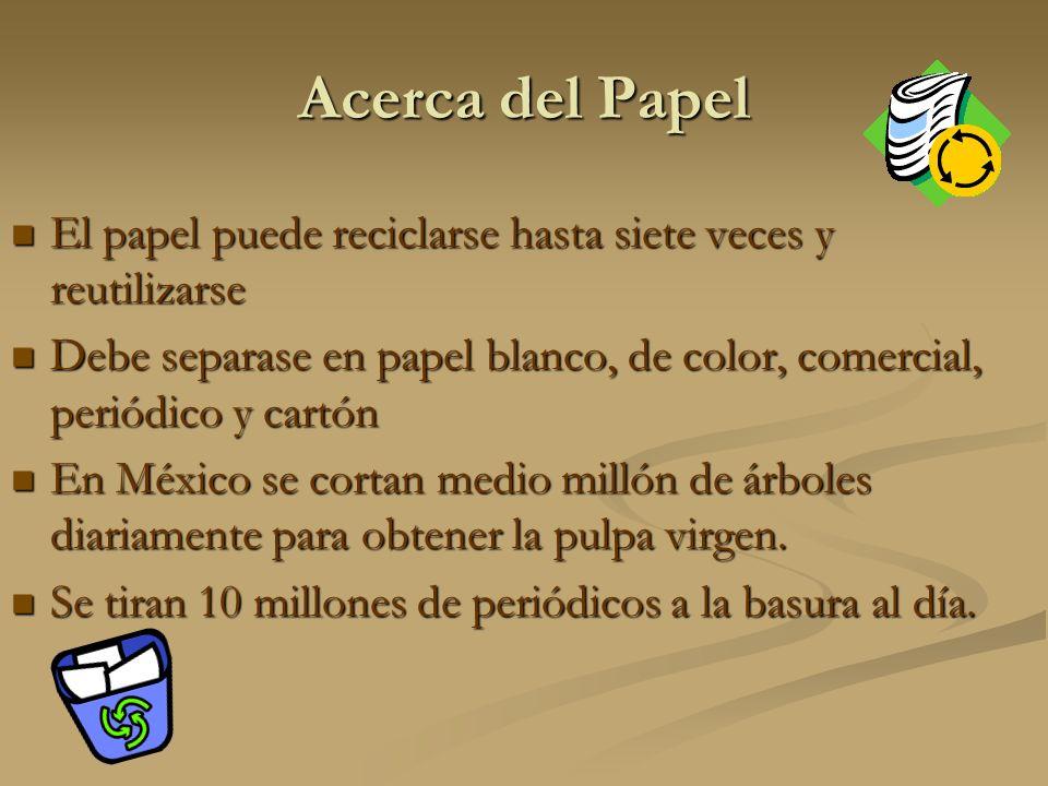 Acerca del Papel El papel puede reciclarse hasta siete veces y reutilizarse. Debe separase en papel blanco, de color, comercial, periódico y cartón.