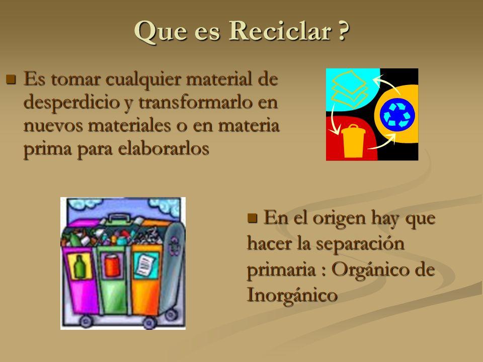 Que es Reciclar Es tomar cualquier material de desperdicio y transformarlo en nuevos materiales o en materia prima para elaborarlos.
