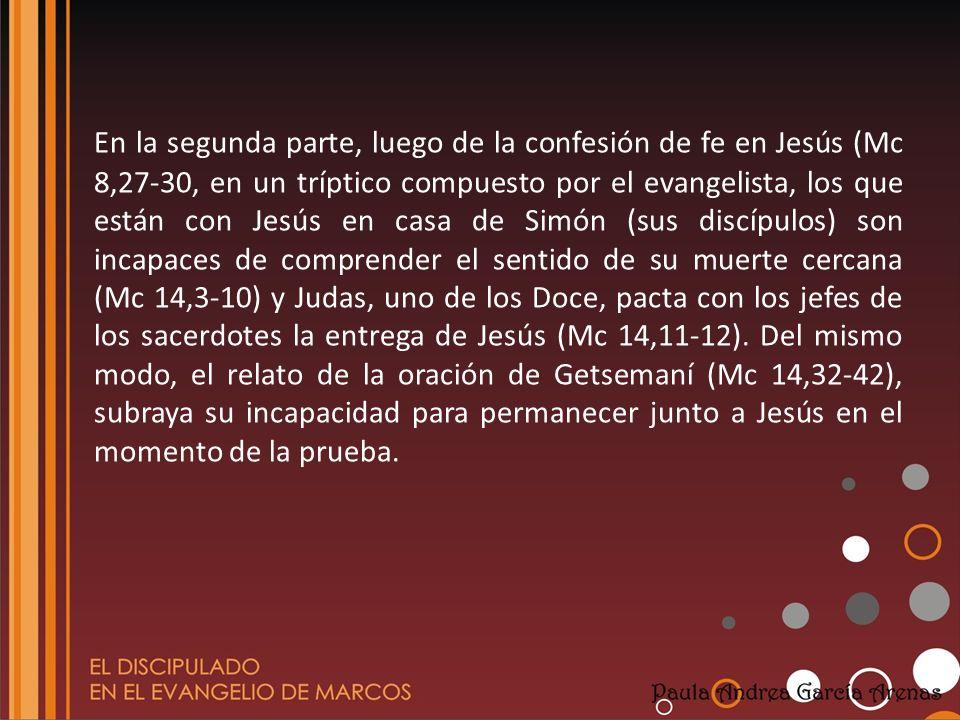 En la segunda parte, luego de la confesión de fe en Jesús (Mc 8,27-30, en un tríptico compuesto por el evangelista, los que están con Jesús en casa de Simón (sus discípulos) son incapaces de comprender el sentido de su muerte cercana (Mc 14,3-10) y Judas, uno de los Doce, pacta con los jefes de los sacerdotes la entrega de Jesús (Mc 14,11-12).