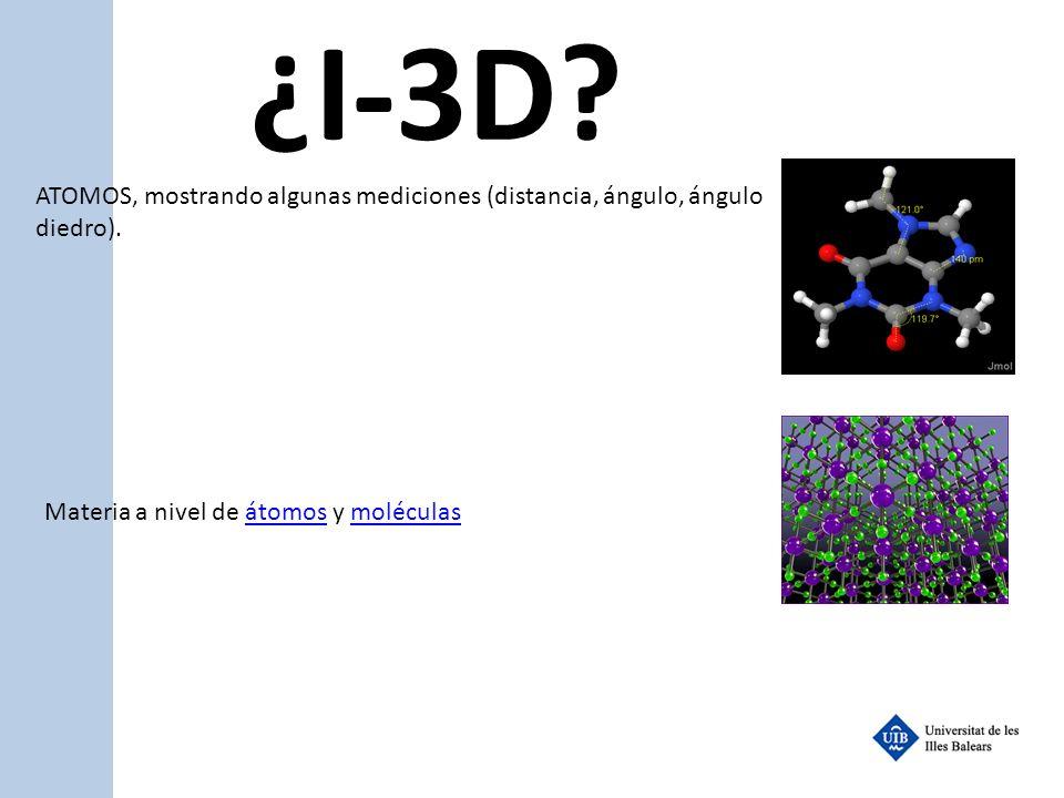 ¿I-3D. ATOMOS, mostrando algunas mediciones (distancia, ángulo, ángulo diedro).