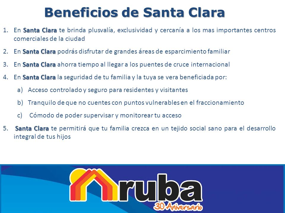 Beneficios de Santa Clara