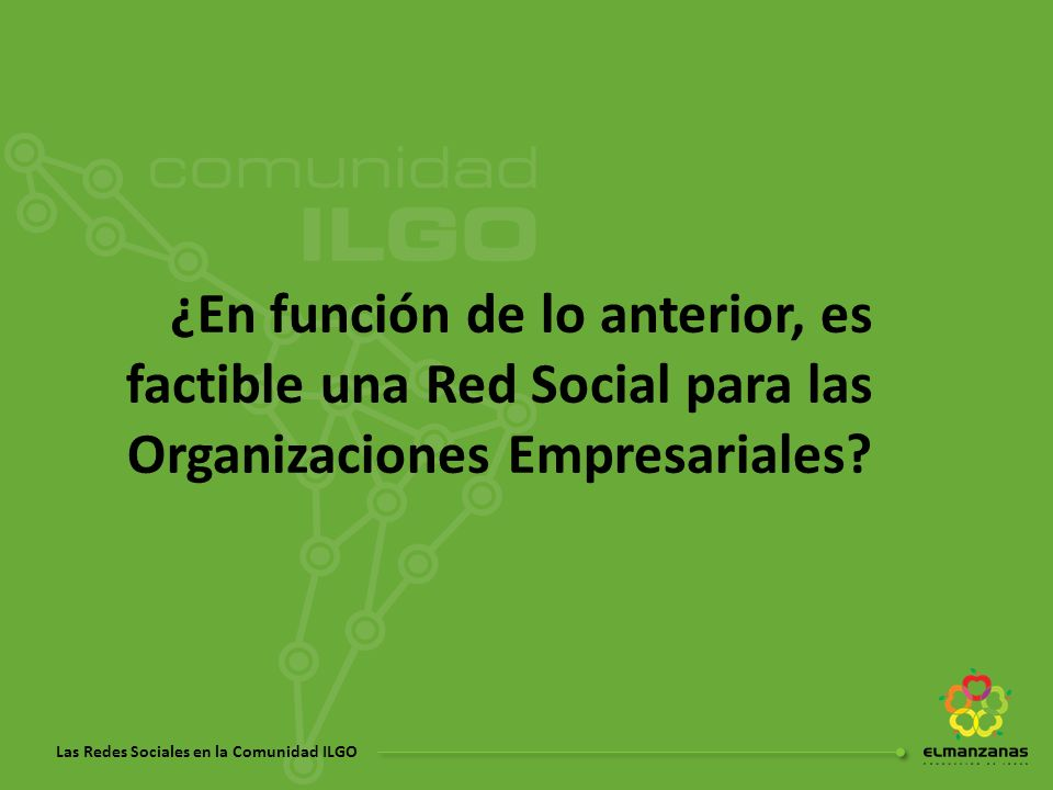 ¿En función de lo anterior, es factible una Red Social para las Organizaciones Empresariales