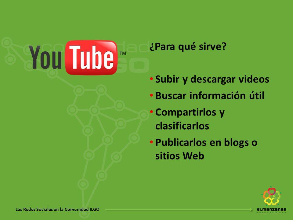 ¿Para qué sirve Subir y descargar videos. Buscar información útil. Compartirlos y clasificarlos.