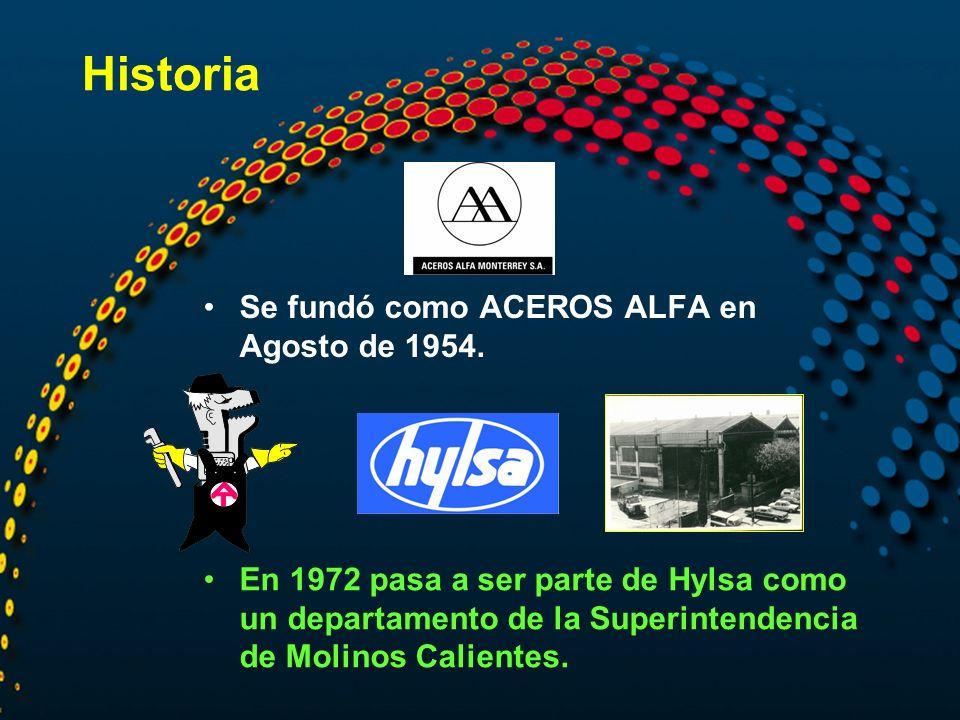 Historia Se fundó como ACEROS ALFA en Agosto de 1954.