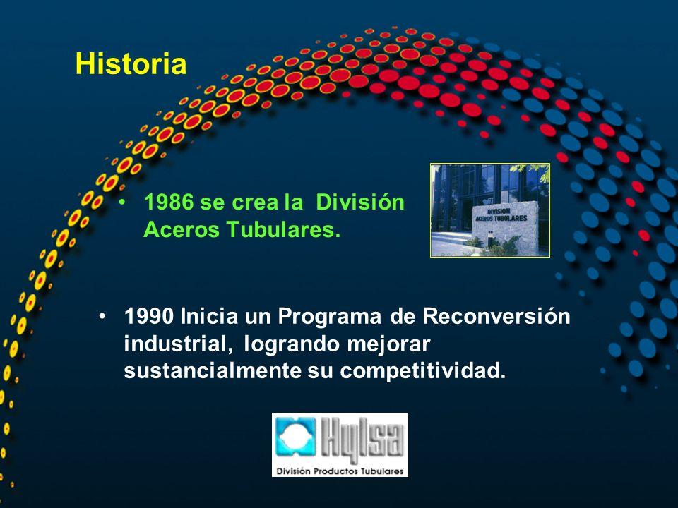 Historia 1986 se crea la División Aceros Tubulares.
