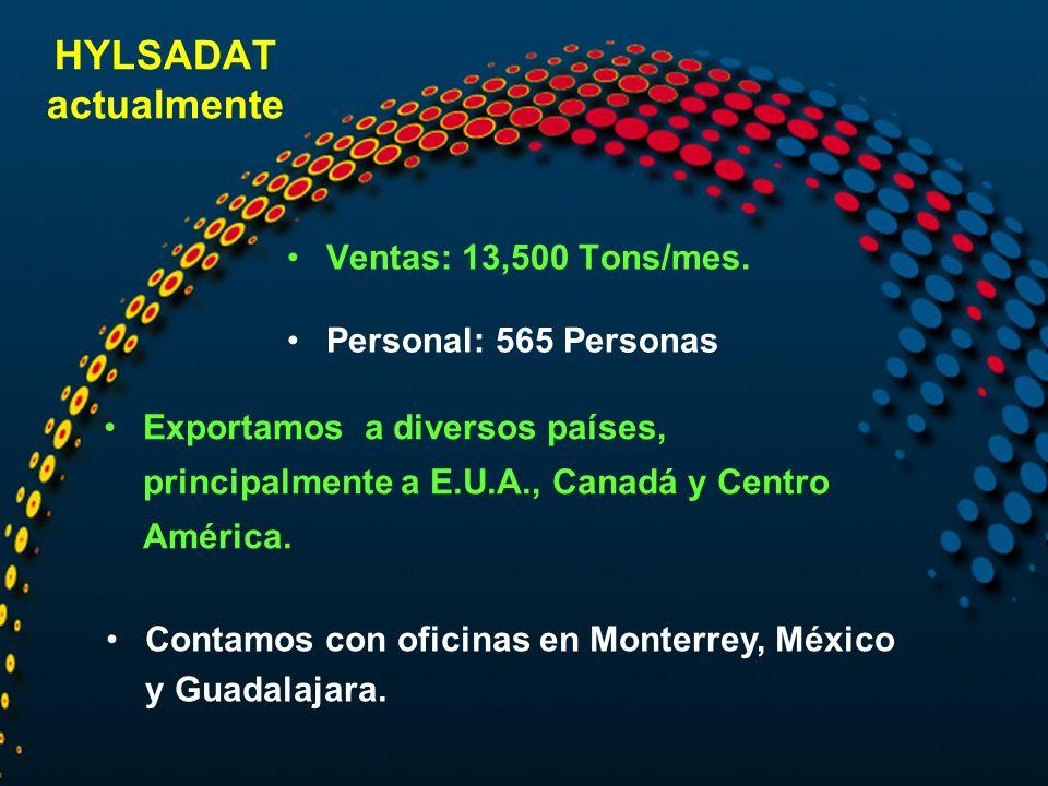 HYLSADAT actualmente Ventas: 13,500 Tons/mes. Personal: 565 Personas