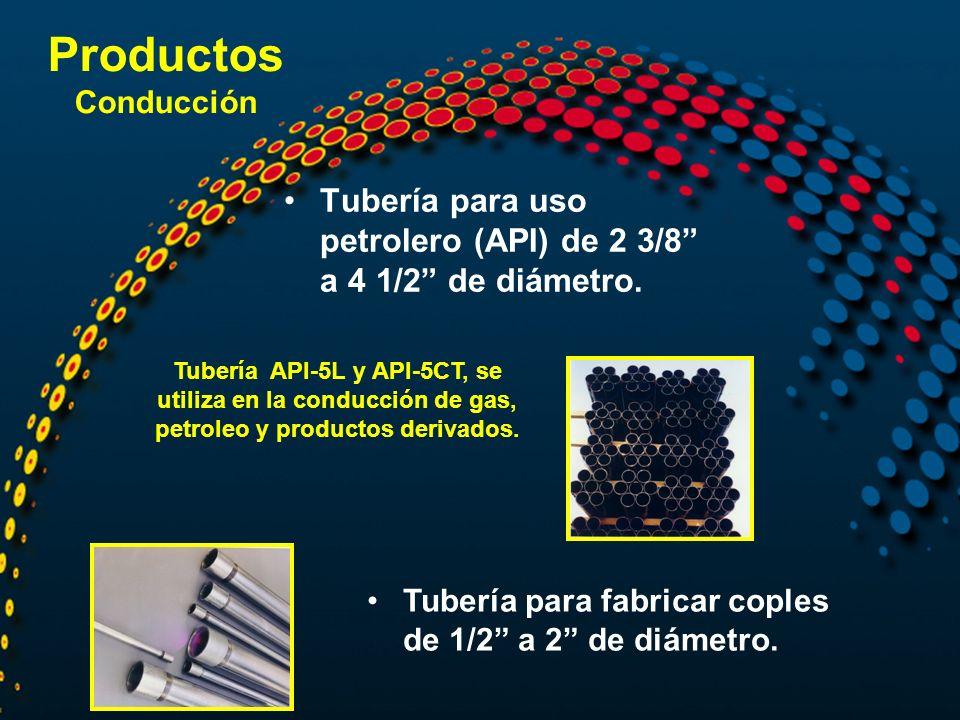 Productos Conducción Tubería para uso petrolero (API) de 2 3/8 a 4 1/2 de diámetro.