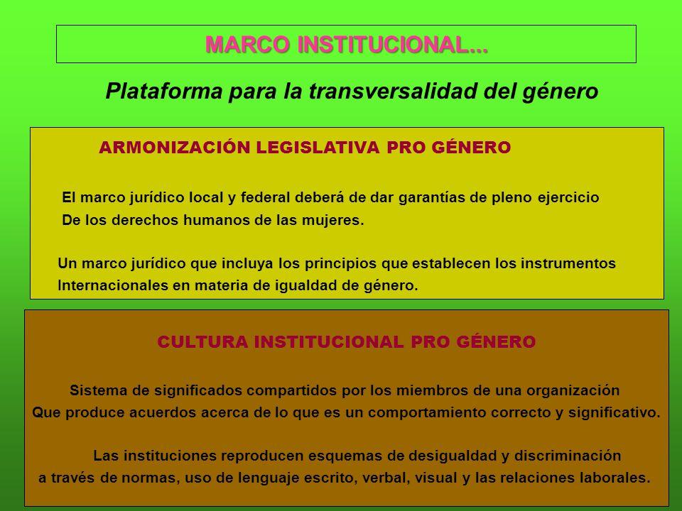 MARCO INSTITUCIONAL... Plataforma para la transversalidad del género