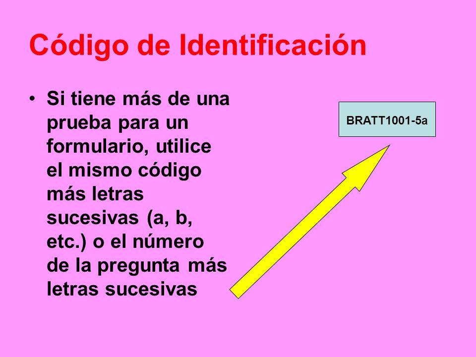 Código de Identificación