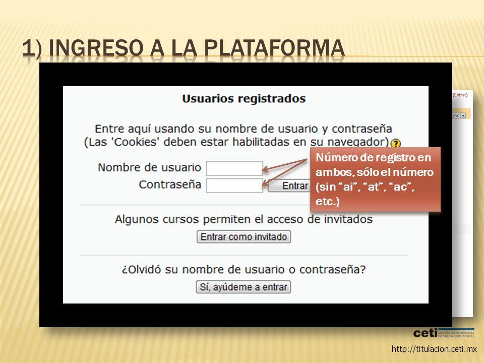 1) Ingreso a la plataforma