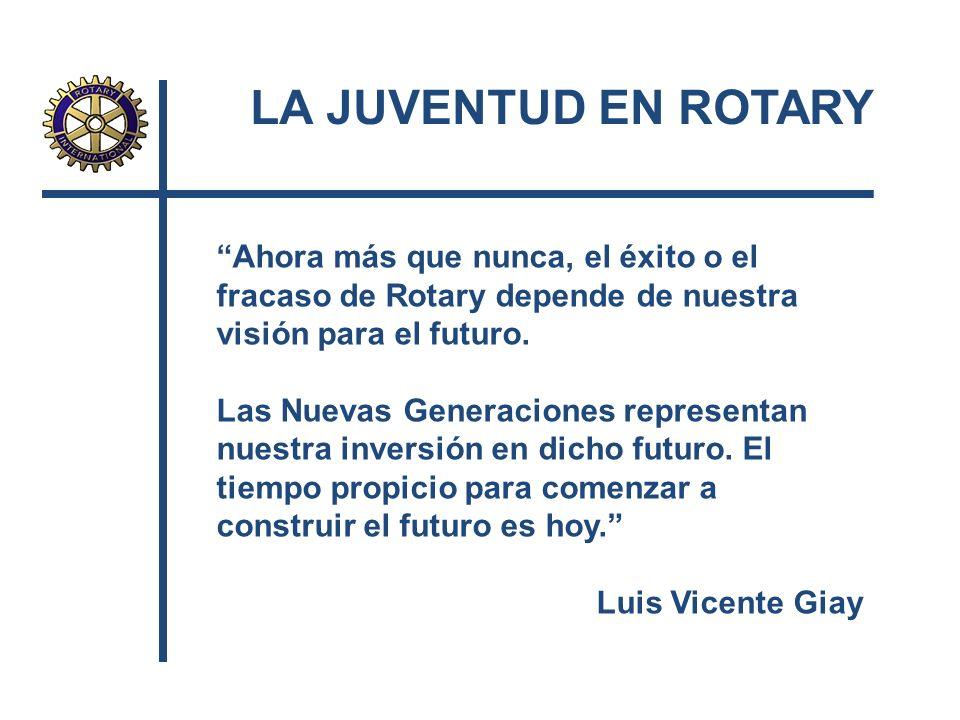 LA JUVENTUD EN ROTARY Ahora más que nunca, el éxito o el fracaso de Rotary depende de nuestra visión para el futuro.