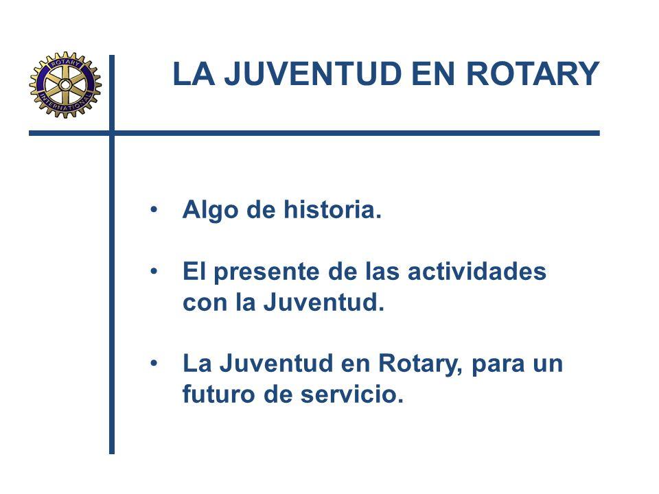 LA JUVENTUD EN ROTARY Algo de historia.
