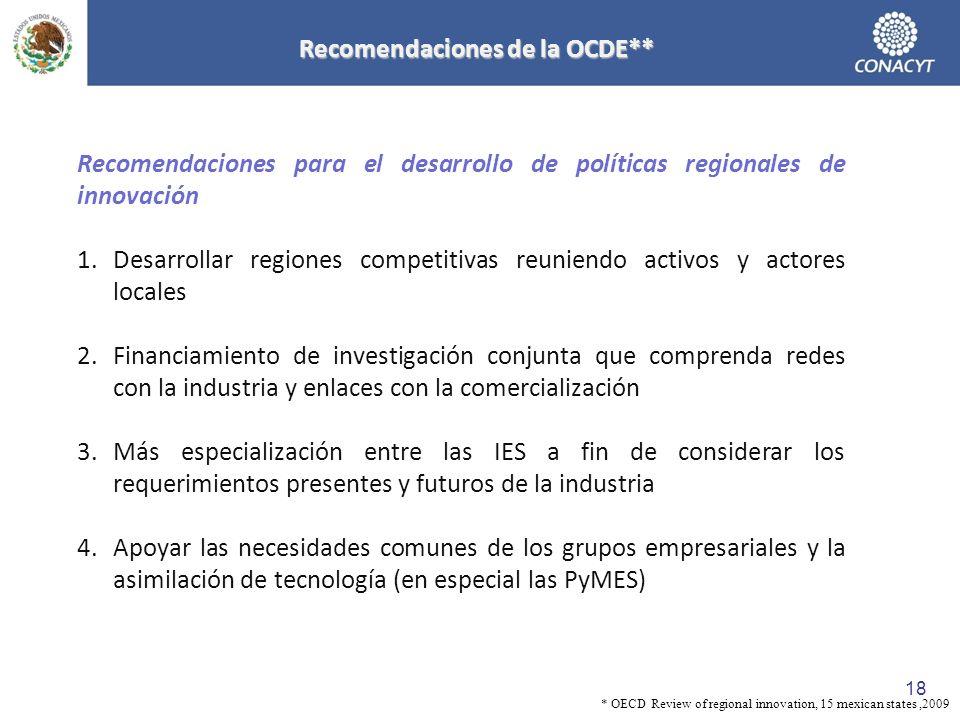 Recomendaciones de la OCDE**
