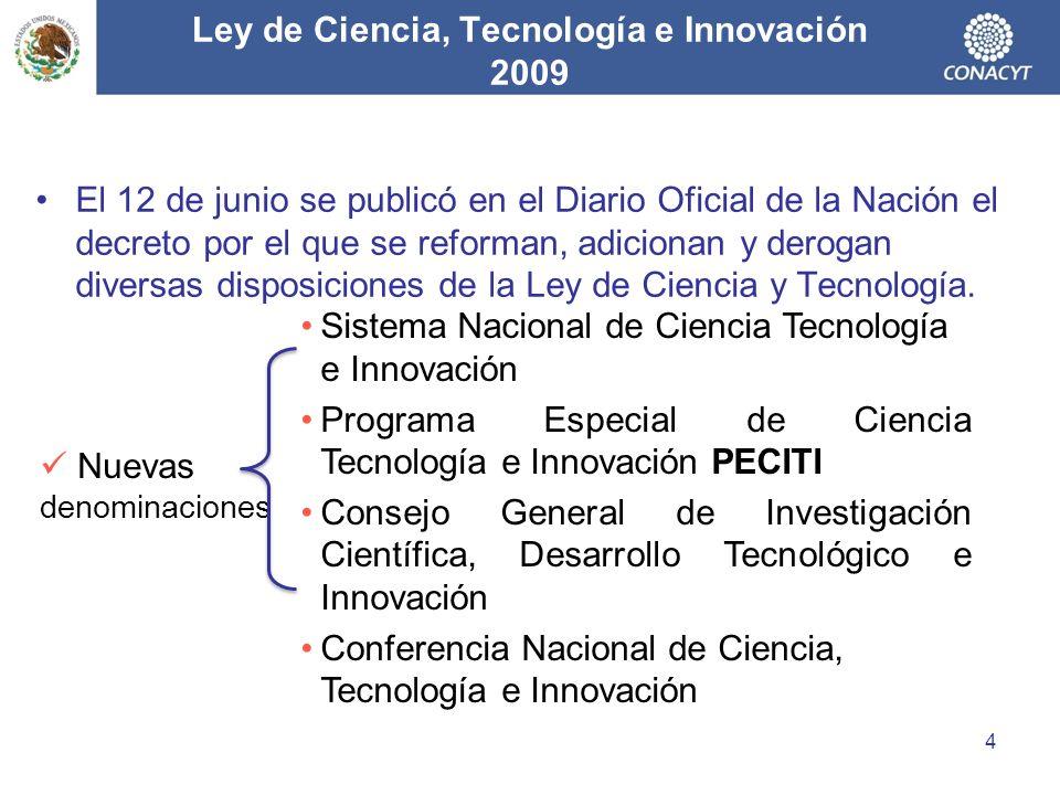Ley de Ciencia, Tecnología e Innovación 2009