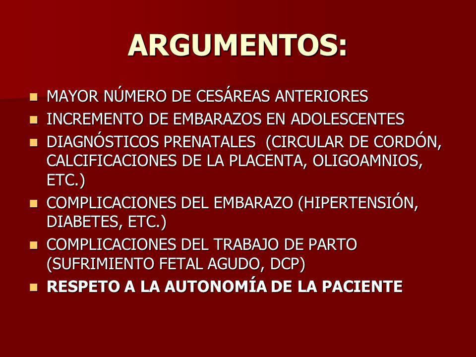ARGUMENTOS: MAYOR NÚMERO DE CESÁREAS ANTERIORES