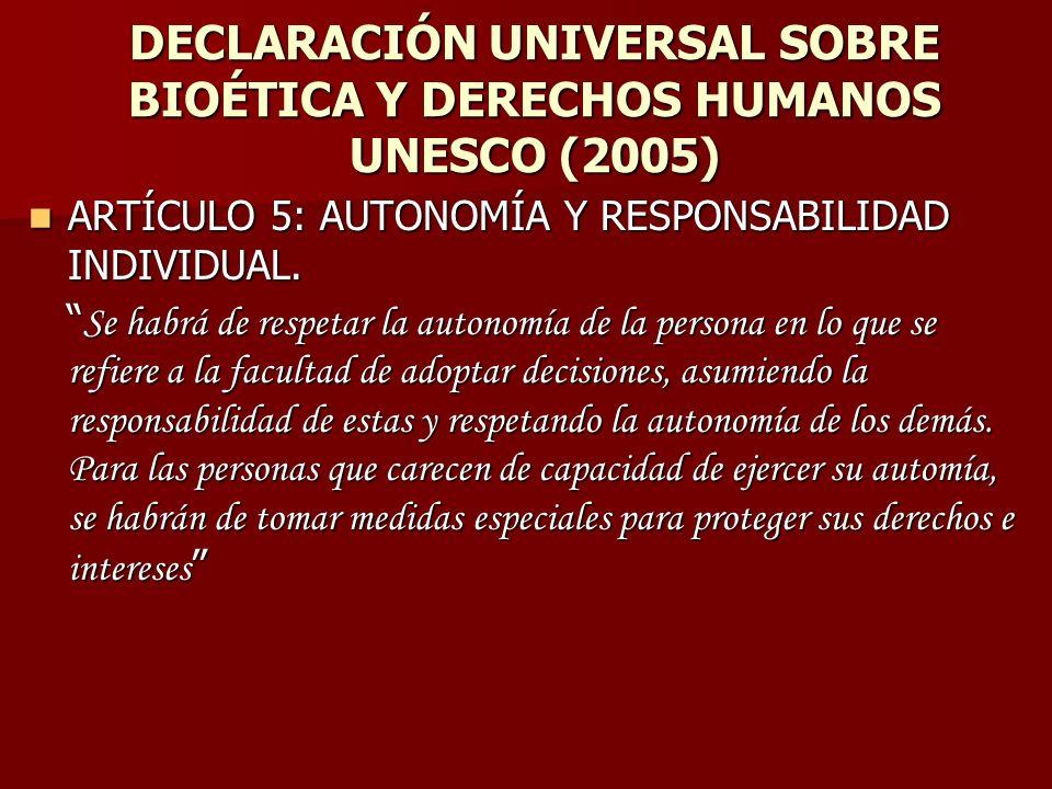 DECLARACIÓN UNIVERSAL SOBRE BIOÉTICA Y DERECHOS HUMANOS UNESCO (2005)