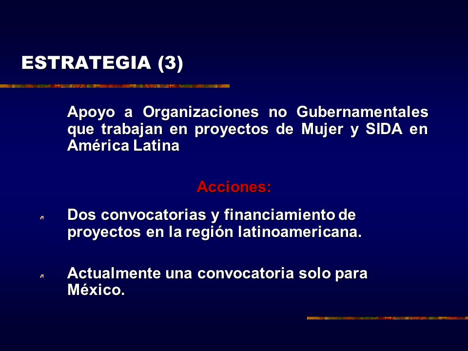 ESTRATEGIA (3) Apoyo a Organizaciones no Gubernamentales que trabajan en proyectos de Mujer y SIDA en América Latina.