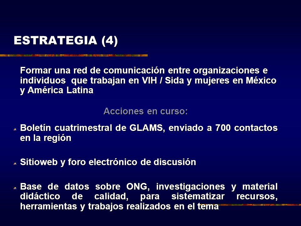 ESTRATEGIA (4) Formar una red de comunicación entre organizaciones e individuos que trabajan en VIH / Sida y mujeres en México y América Latina.