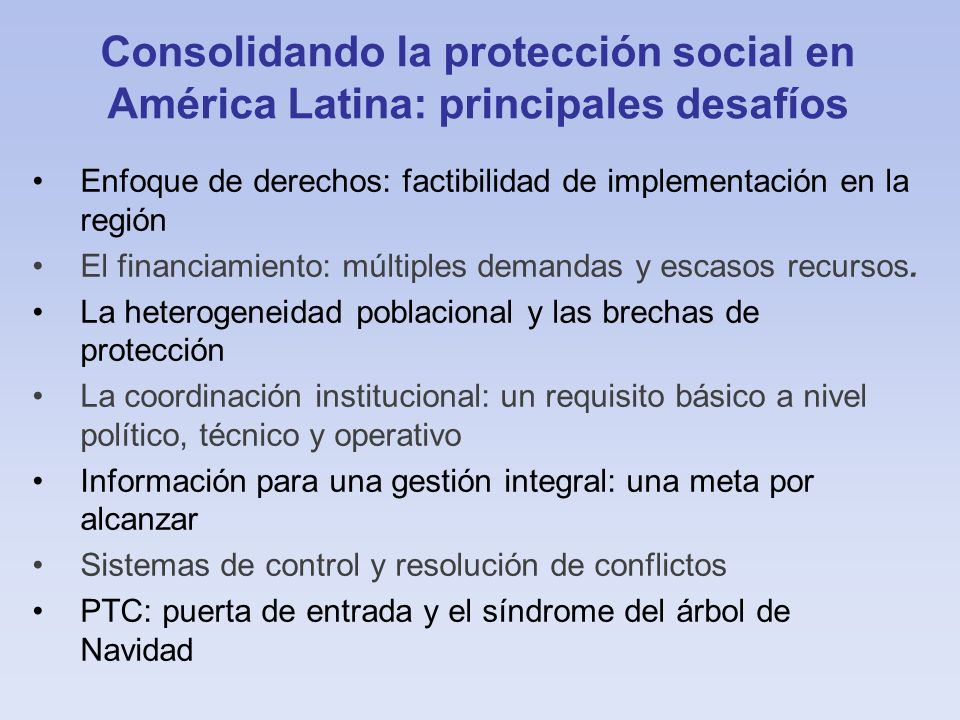 Consolidando la protección social en América Latina: principales desafíos
